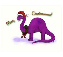 Merry Christmas Dinosaur Art Print