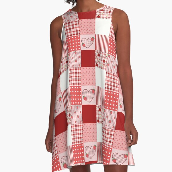 Valentine's Red and White Patchwork A-Line Dress
