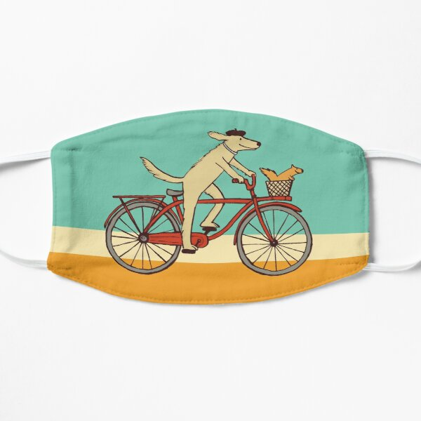 Dog and Squirrel are Friends | Whimsical Animal Art | Dog Riding a Bicycle Flat Mask