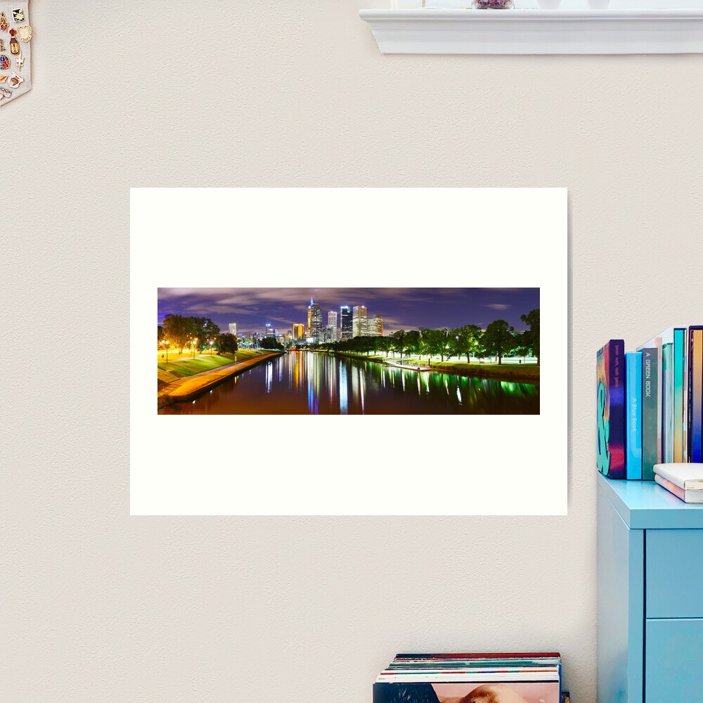 Yarra River by Night, Melbourne, Victoria, Australia Art Print