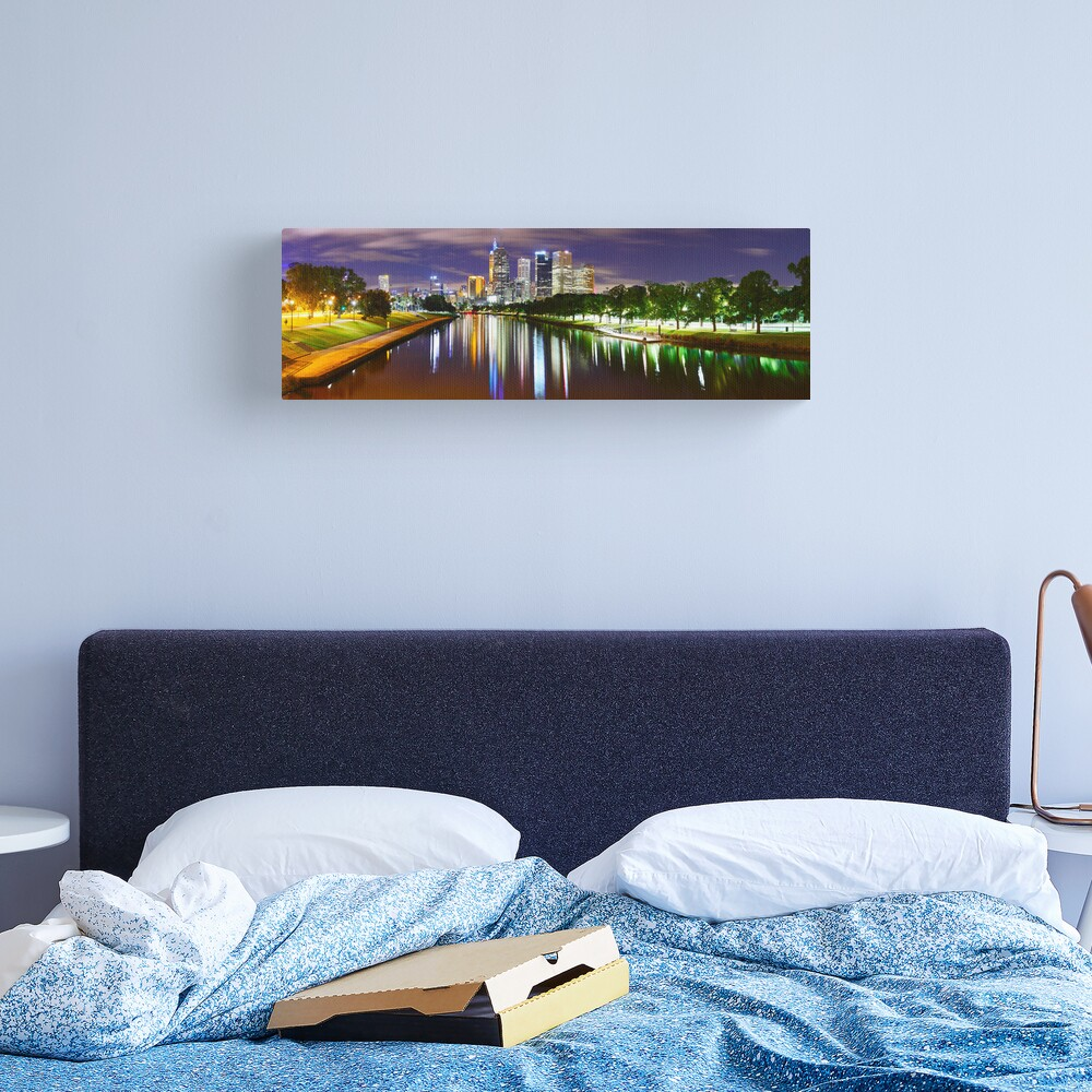 Yarra River by Night, Melbourne, Victoria, Australia Canvas Print