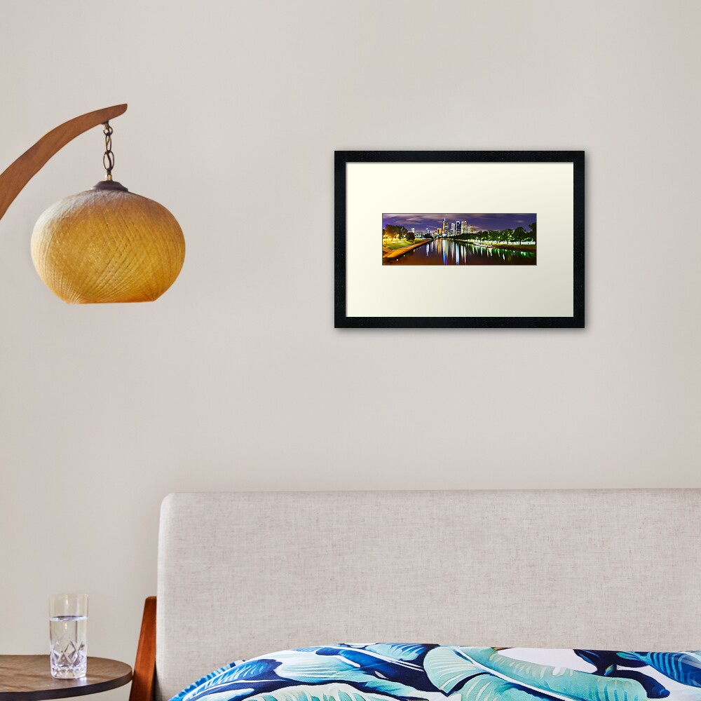 Yarra River by Night, Melbourne, Victoria, Australia Framed Art Print