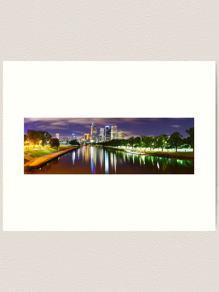 Alternate view of Yarra River by Night, Melbourne, Victoria, Australia Art Print
