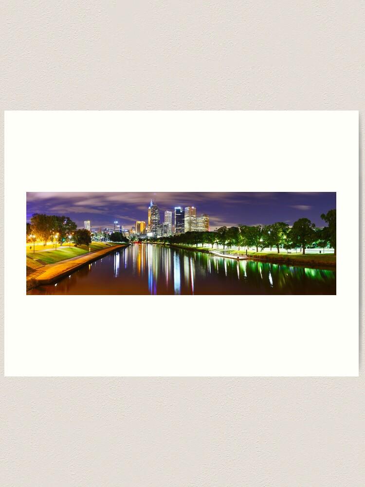 Alternate view of Yarra River by Night, Melbourne, Victoria, Australia Art Print