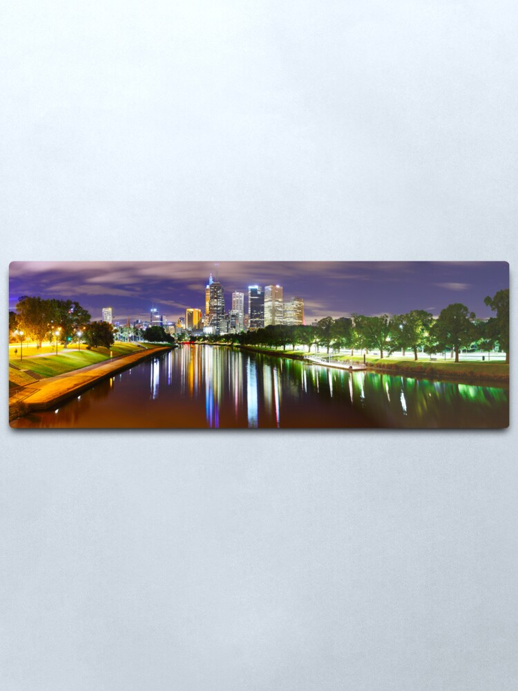 Alternate view of Yarra River by Night, Melbourne, Victoria, Australia Metal Print