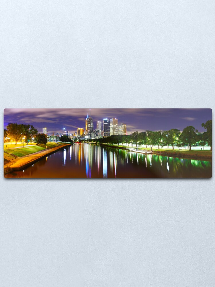 Alternate view of Yarra River by Night, Melbourne, Victoria, Australia Metal Print