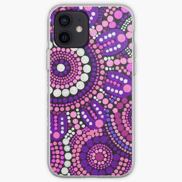 Aboriginal Art Pink Pattern Family Gathering iPhone Soft Case