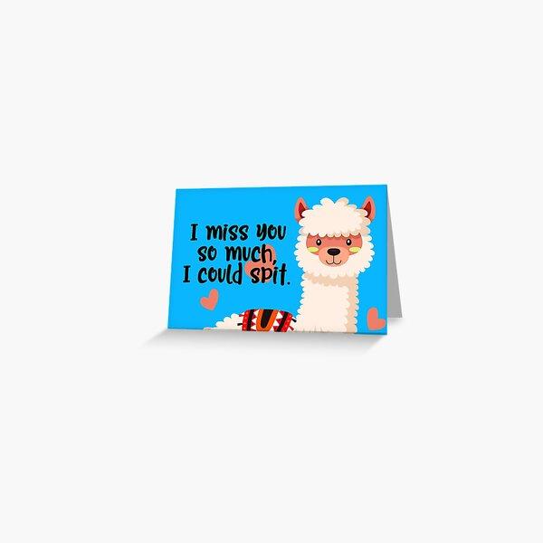 Llama Greeting Card I miss you Greeting Card