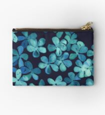 Hand Painted Floral Pattern in Teal & Navy Blue Studio Pouch