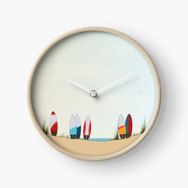 Surfboards at the Beach Clock