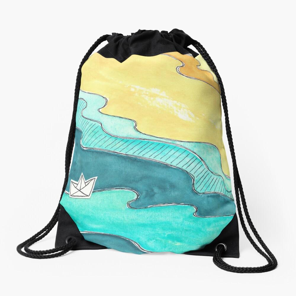 """""""Paper Boat"""" watercolor Drawstring Bag"""