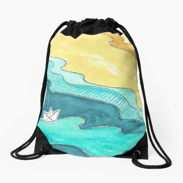 """Paper Boat"" watercolor Drawstring Bag"