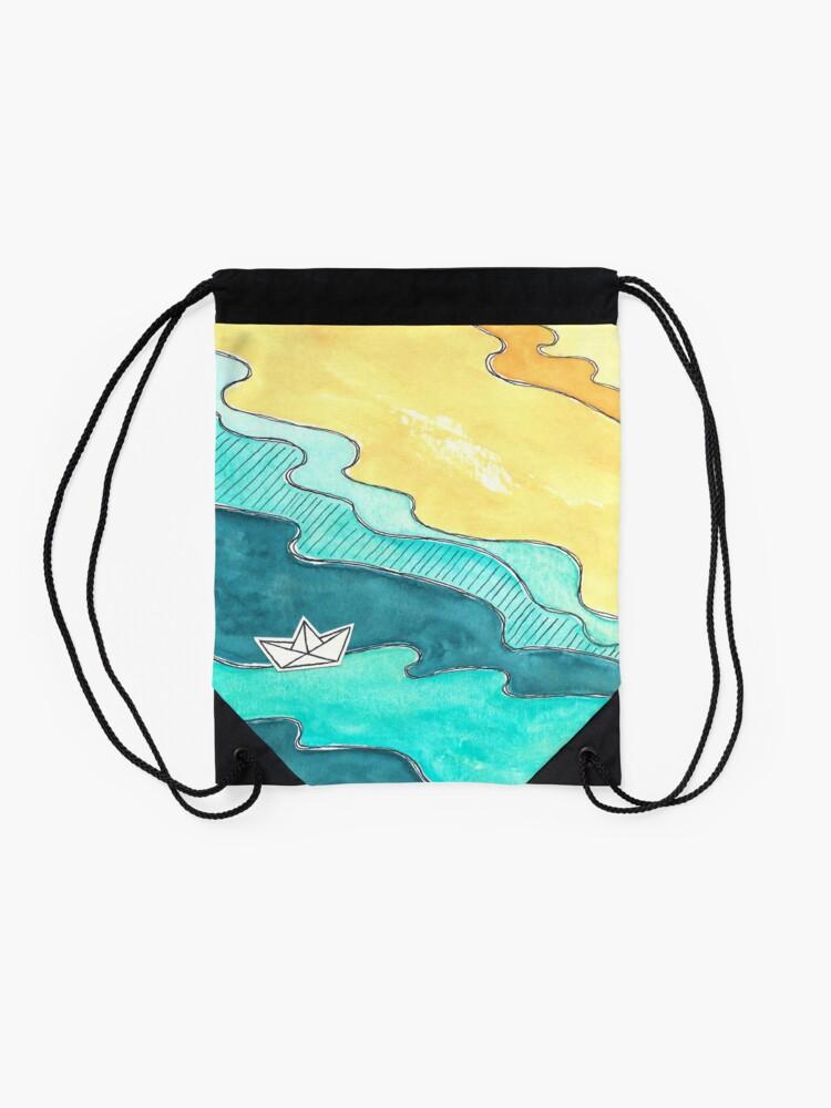 """Alternate view of """"Paper Boat"""" watercolor Drawstring Bag"""