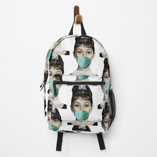 Audrey Hepburn Gave up blowing bubbles with her gum and decided wearing a mask was much better for her and everyone else maybe if people see her wearing a mask they will wear one too. Backpack