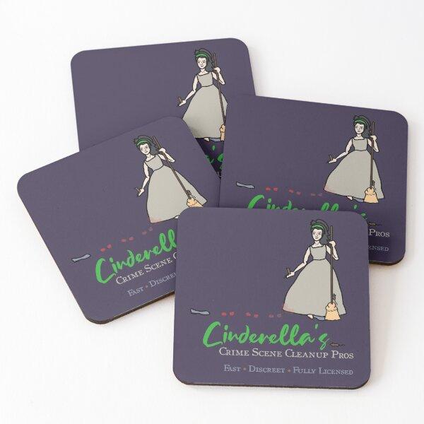 Cinderella's Crime Scene Cleanup -- Darkly Funny Fairy Tale Coasters (Set of 4)