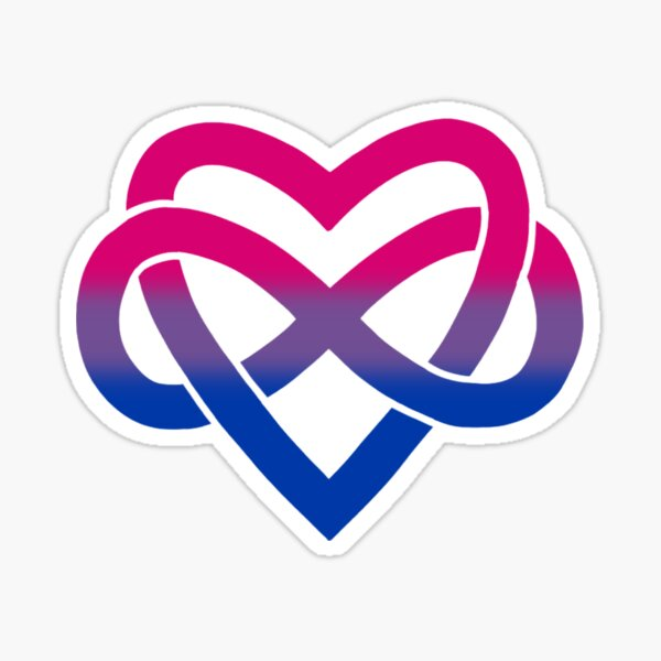 Bisexual Polyamory Inifinity Heart (black) Sticker
