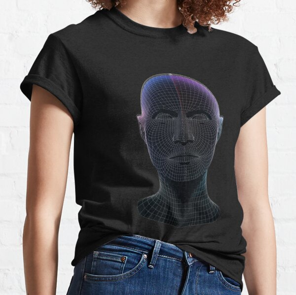 Neon wireframe head  Classic T-Shirt