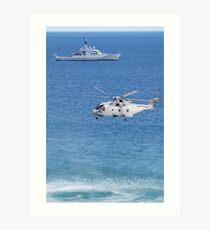 Navy Helicopter and Ship Art Print