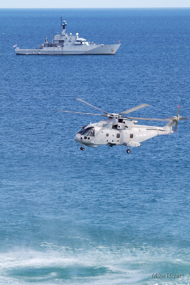 Navy Helicopter and Ship by Mike Rivett