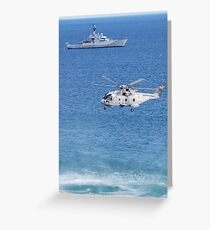 Navy Helicopter and Ship Greeting Card