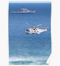 Navy Helicopter and Ship Poster