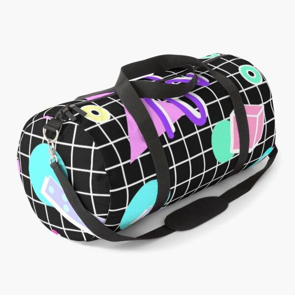 80s Retro Party Grid Design (Black BG) Duffle Bag