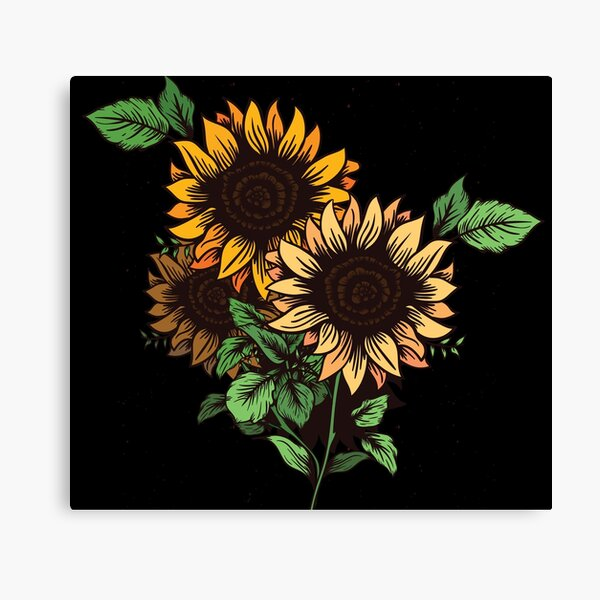 Bunch of Yellow Sunflowers with Green Leaves Canvas Print