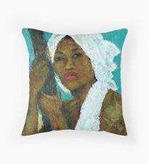 Black Lady with White Head-dress Throw Pillow