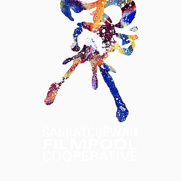 Saskatchewan Filmpool Cooperative large colourful logo - white by SaskFilmpool