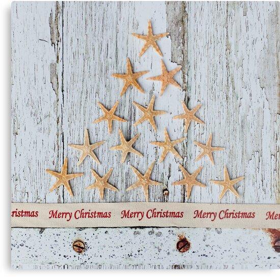 Merry Christmas Starfish Tree by Debbie Hartley