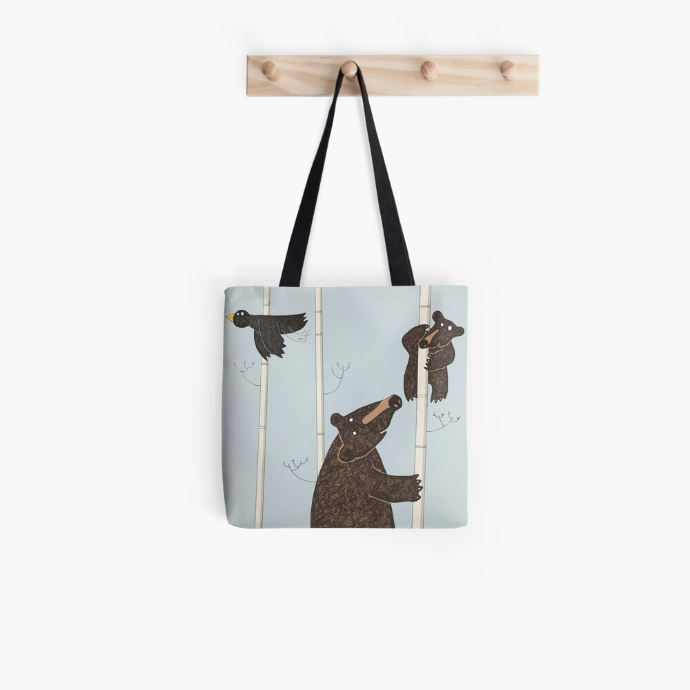Mother & Baby Black Bear Up A Silver Birch Tree Tote Bag