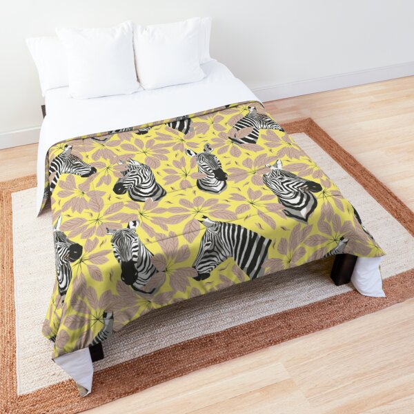 Zebras In The Jungle with Lemon Background Comforter