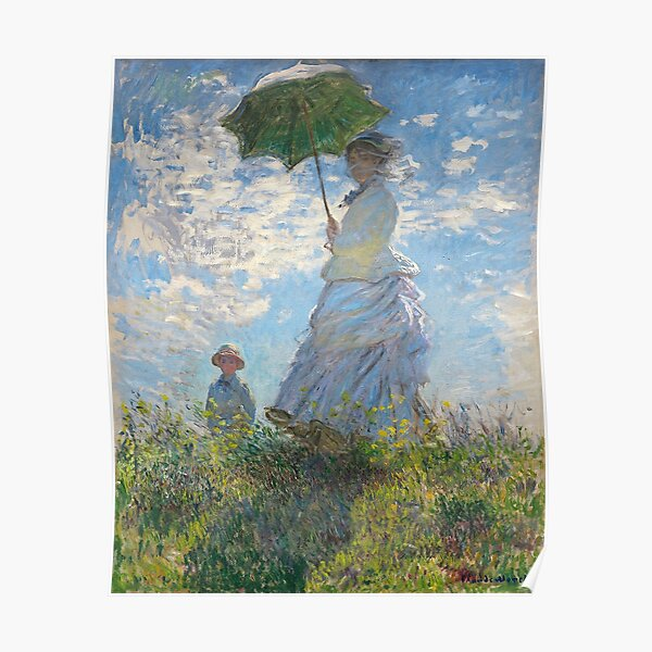 MONET. Claude, Artist, Art, Painter, Oil Painting, Canvas, Woman with a Parasol, Madame Monet and Her Son, 1875. Poster