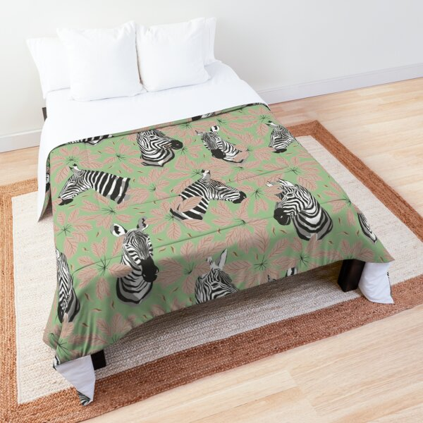 Zebras In The Jungle with Green Background Comforter