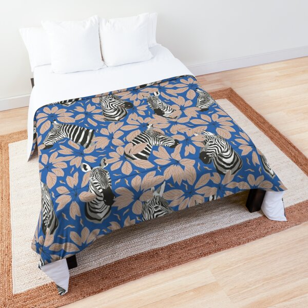Zebras In The Jungle with Sky Blue Background Comforter