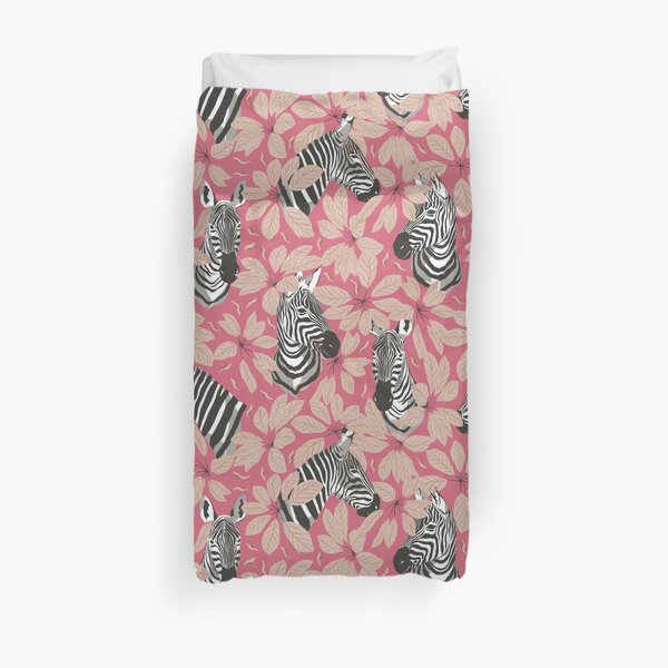 Zebras In The Jungle with Rose Red Background Duvet Cover