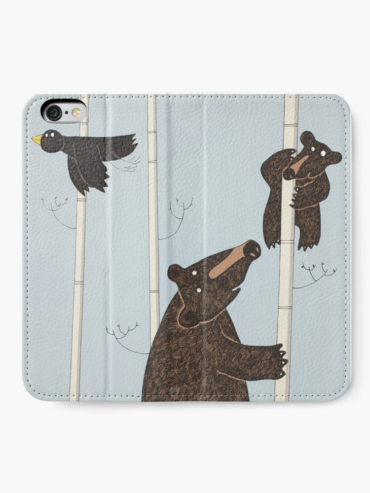 Alternate view of Mother & Baby Black Bear Up A Silver Birch Tree iPhone Wallet