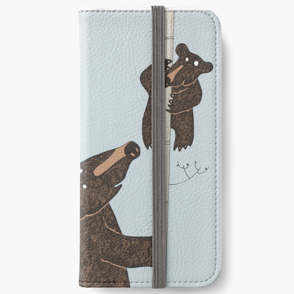 Mother & Baby Black Bear Up A Silver Birch Tree iPhone Wallet