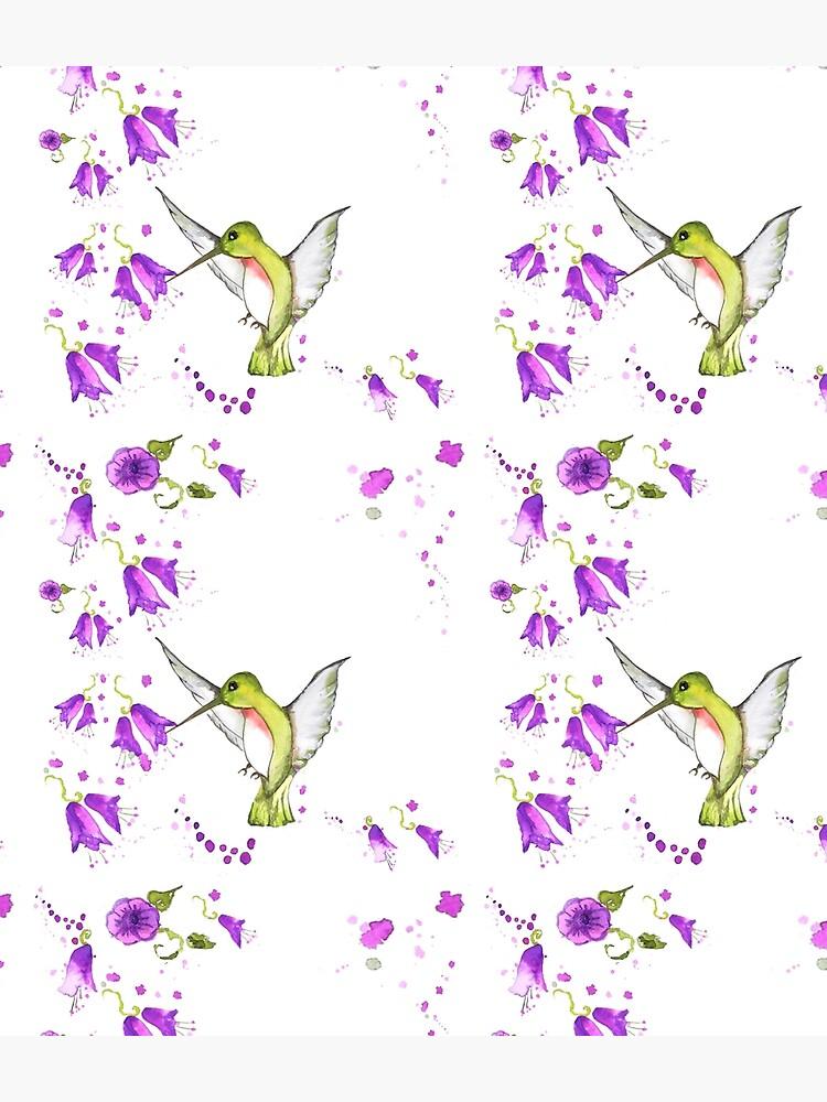 hummingbird among lilac flowers by danibarbieri