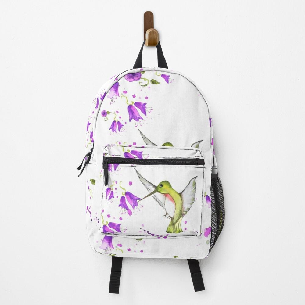 hummingbird among lilac flowers Backpack