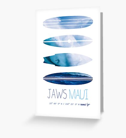 My Surfspots poster-1-Jaws-Maui Greeting Card