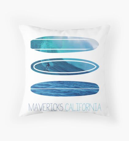 My Surfspots poster-2-Mavericks-California Throw Pillow