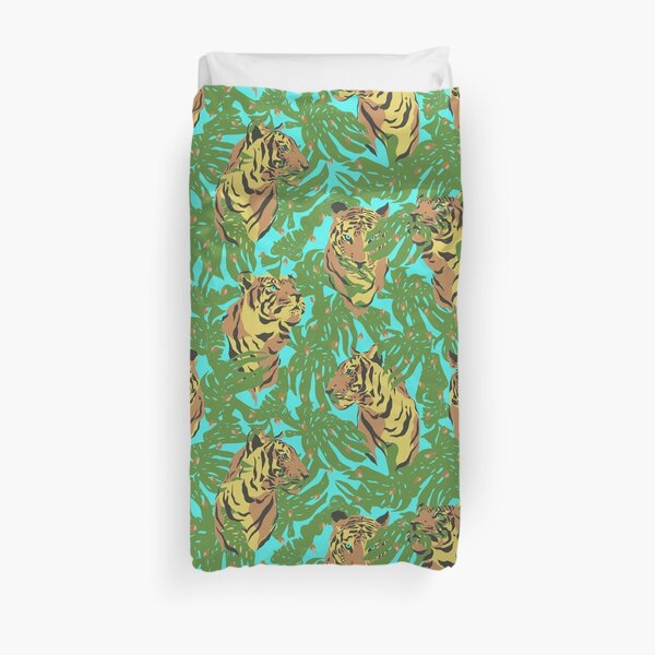 Tigers In The Jungle with Green Leaves And Sky Blue Background Duvet Cover