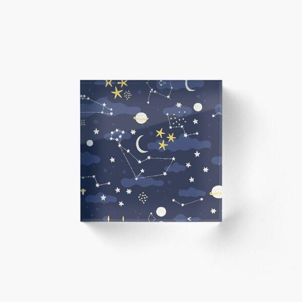 Galaxy - cosmos, moon and stars. Astronomy pattern. Cute cartoon universe design. Acrylic Block