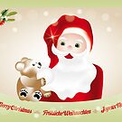 Christmas eve with Santa Claus and teddy by schtroumpf2510