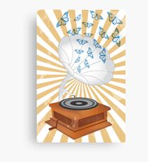 Retro music player with butterflies Canvas Print