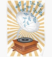 Retro music player with butterflies Poster