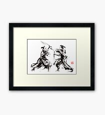 Samurai sword bushido katana martial arts budo sumi-e original ink sword painting artwork Framed Print