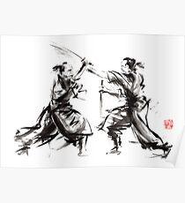 Samurai sword bushido katana martial arts budo sumi-e original ink sword painting artwork Poster