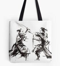Samurai sword bushido katana martial arts budo sumi-e original ink sword painting artwork Tote Bag